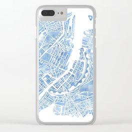 Copenhagen Denmark watercolor city map Clear iPhone Case