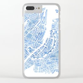 Copenhagen Denmark watercolor city map Clear iPhone Case