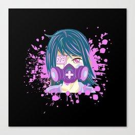 Sad Girl with Gas Mask Yami Kawaii Pastel Goth Aesthetic Anime Gift Canvas Print