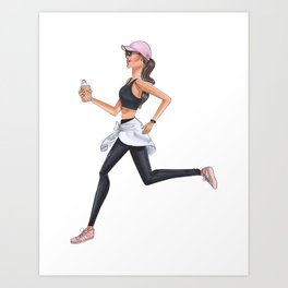 Brunette runner Art Print
