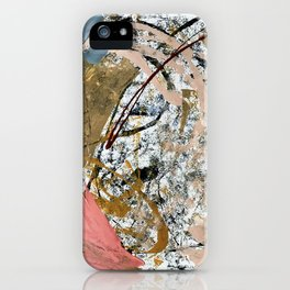 Symphony [2]: colorful abstract piece in gray, brown, pink, black and white iPhone Case