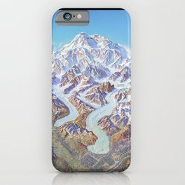 Heinrich Berann - Panoramic Painting of Denali National Park with labels (1994) iPhone Case