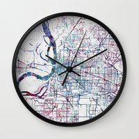 memphis Wall Clocks featuring Memphis map by MapMapMaps.Watercolors