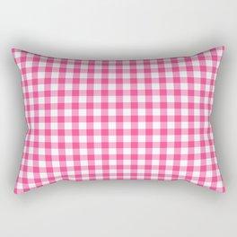 Gingham Print - Pink Rectangular Pillow