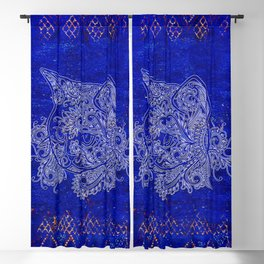 (N20) Tribal Cute Cat Hand Drawing, Traditonal Moroccan Carpet Background Blackout Curtain