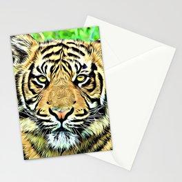 Tiger head digital art Stationery Cards