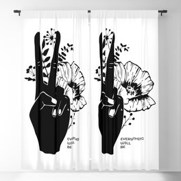 Hand with two fingers outward and flowers. Black and white. Blackout Curtain