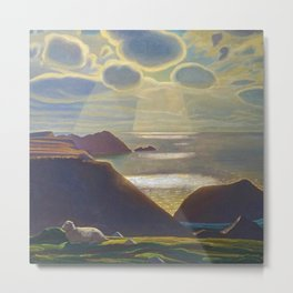 Rays of Sun off the Sea Cliffs Sturrall Donegal, Ireland by Rockwell Kent Metal Print