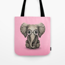 Cute Baby Elephant Calf with Reading Glasses on Pink Tote Bag