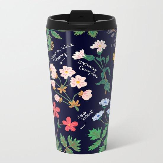 Flowers of the hedgerow Metal Travel Mug