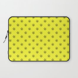 Black on Electric Yellow Snowflakes Laptop Sleeve
