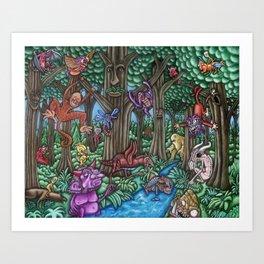 Creatures at Nite Art Print