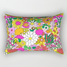 60's Groovy Garden in Pink Rectangular Pillow