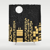 starry night Shower Curtains featuring Starry Night by Alisa Galitsyna