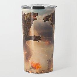 Godzilla vs King Kong Moster Fight Movies Art Print Decor Home Poster Full Size Travel Mug