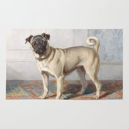 Vintage Pug Painting Rug