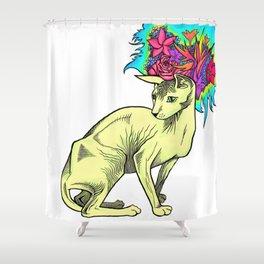 Floral Sphynx Shower Curtain