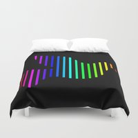 techno Duvet Covers featuring Techno Pigeon by JG Designs