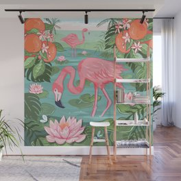 Flamingo and Waterlily Wall Mural