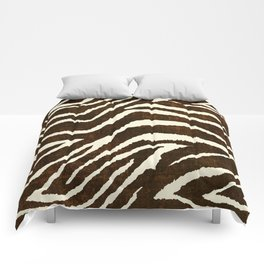 ANIMAL PRINT ZEBRA IN WINTER 2 BROWN AND BEIGE Comforters
