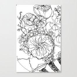Peony - Black and White Canvas Print