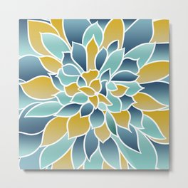 Modern, Floral Prints, Yellow, Blue and Teal Metal Print