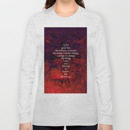 Serenity Prayer Inspirational Quote With Beautiful Christian Art Long Sleeve T-shirt