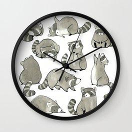 Delightfully Blobby Raccoons Wall Clock