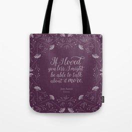 Purple Floral Love Quote  Emma Jane Austen Tote Bag