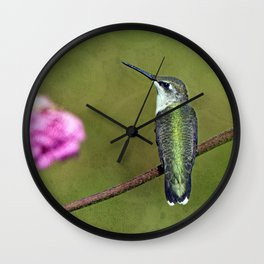 Hummingbird and Zinnia Wall Clock