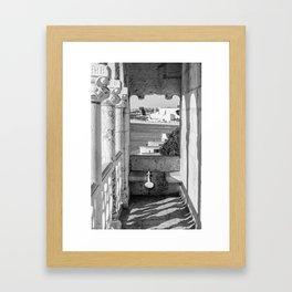 Lisbon Belem tower black white Framed Art Print