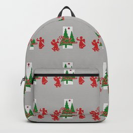 Red Angel Christmas Tree grey Backpack