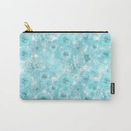 Turquoise aqua flower lace pattern Carry-All Pouch