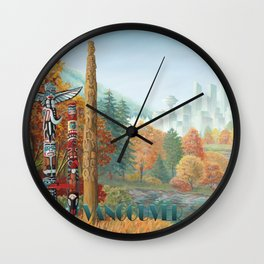 Vancouver Two Worlds Collide Landscape Painting Wall Clock