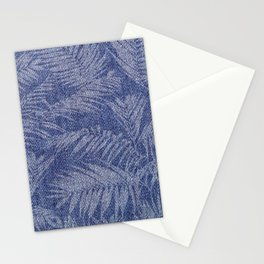 Tropical pattern on blue jeans Stationery Cards