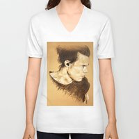 harry styles V-neck T-shirts featuring Harry Styles by Drawpassionn