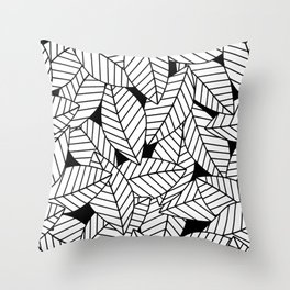 Leaves in Black Throw Pillow