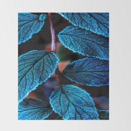 Peacock Blue Leaves Nature Background #decor #society6 #buyart Throw Blanket
