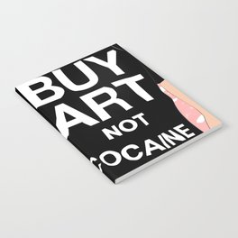 Buy Art, Not Cocaine - Dude with Blue Hair Typography Digital Drawing Notebook