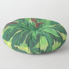 Aralia Leaf, Leaves and Orchids, Floral Pastel Floor Pillow