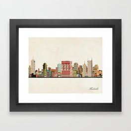 nashville tennessee skyline Framed Art Print