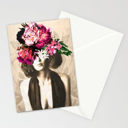 Floral Woman Vintage White Rose Gold Stationery Cards