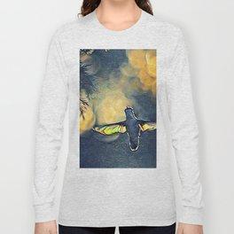 Golden Blue Hummingbird by CheyAnne Sexton Long Sleeve T-shirt