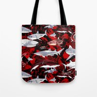 sharks Tote Bags featuring Sharks. by Sylvie Heasman