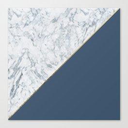 Elegant mauve blue white marble faux gold geometric Canvas Print