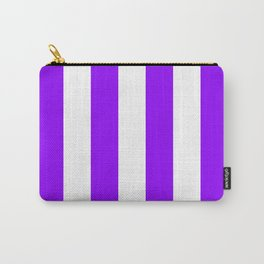 Vertical Stripes - White and Violet Carry-All Pouch