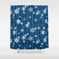 Christmas pattern. White snowflakes on a blue background. Shower Curtain