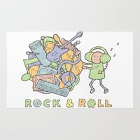 katamari Area & Throw Rugs featuring Katamari Rock & Roll by vonplatypus