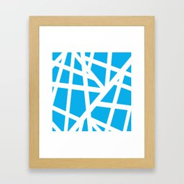 Abstract Interstate  Roadways White & Aqua Blue Color Framed Art Print