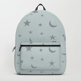 Grey moon and star pattern on baby blue background Backpack